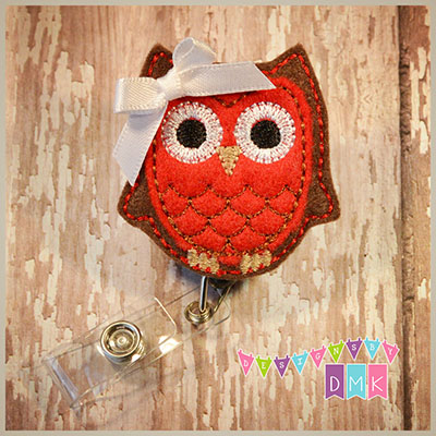 Owl - Brown & Red Felt Badge Reel
