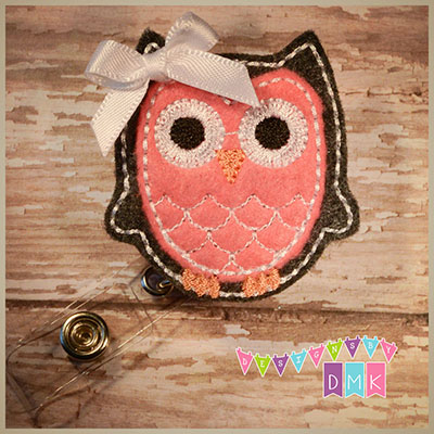 Owl - Charcoal & Brite Pink Felt Badge Reel