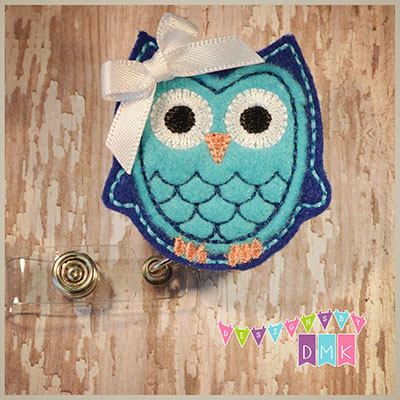 Owl - Dark Blue & Brite Blue Felt Badge Reel