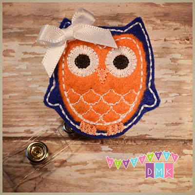Owl - Dark Blue & Orange Felt Badge Reel