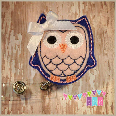 Owl - Dark Blue & Light Pink Felt Badge Reel