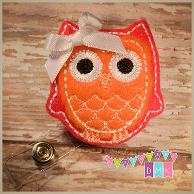 Owl - Dark Pink & Orange Felt Badge Reel