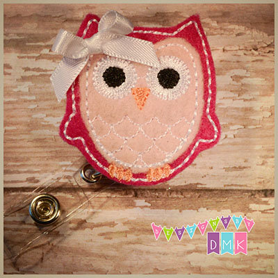 Owl - Fuchsia & Light Pink Felt Badge Reel