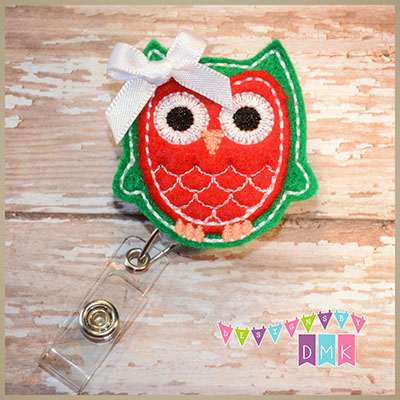 Owl - Green & Red Felt Badge Reel