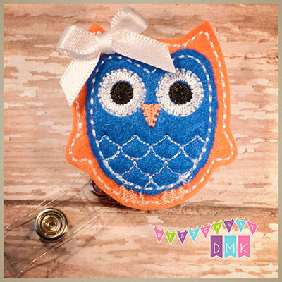 Owl - Orange & Dark Blue Felt Badge Reel