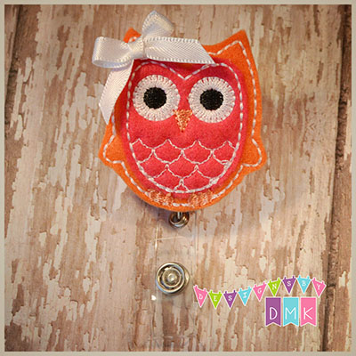 Owl - Orange & Dark Pink Felt Badge Reel