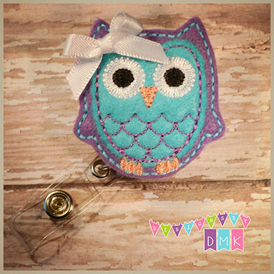 Owl - Purple & Brite Blue Felt Badge Reel