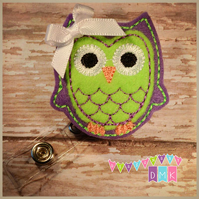 Owl - Purple & Lime Felt Badge Reel
