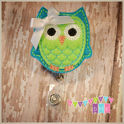 Owl - Turquoise & Lime Felt Badge Reel