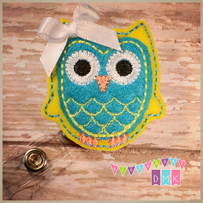 Owl - Yellow & Turquoise Felt Badge Reel