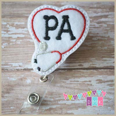 PA Stethoscope Heart Red Felt Badge Reel