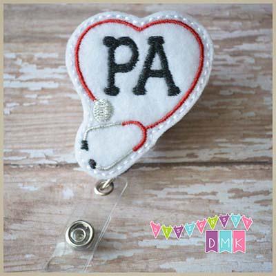 PA Stethoscope Heart Red Felt Badge Reel