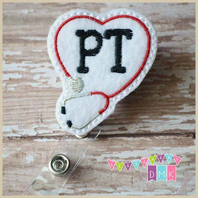 PT Stethoscope Heart Red Felt Badge Reel