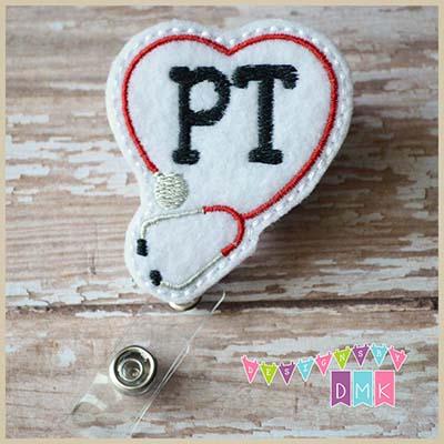 PT Stethoscope Heart Red Felt Badge Reel
