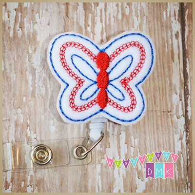 Patriotic Butterfly Felt Badge Reel