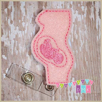 Pregnant Profile Felt Badge Reel