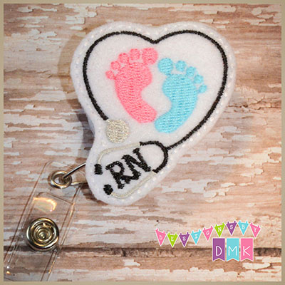 RN Stethoscope Heart with Baby Feet Felt Badge Reel