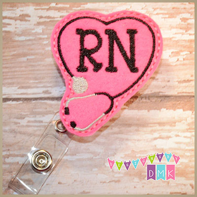 RN Stethoscope Heart on Brite Pink Felt Badge Reel