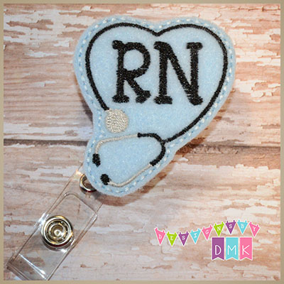RN Stethoscope Heart on Light Blue Felt Badge Reel