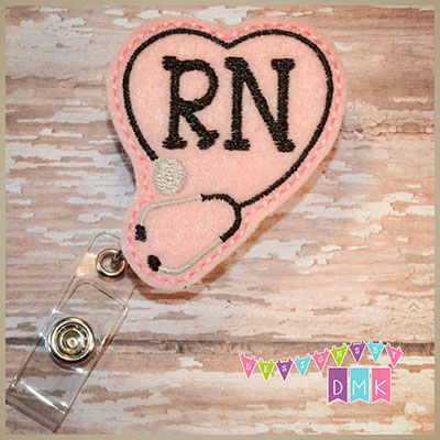 RN Stethoscope Heart on Light Pink Felt Badge Reel