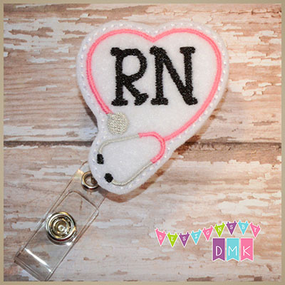 RN Stethoscope Heart Pink on White Felt Badge Reel