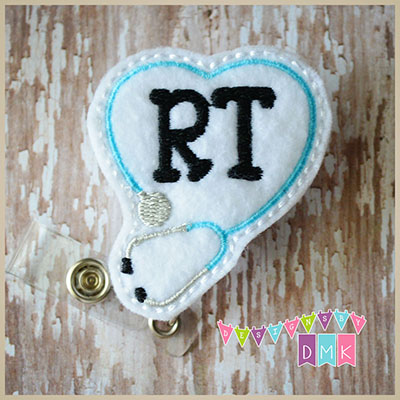 RT Stethoscope Heart Brite Blue on White Felt Badge Reel