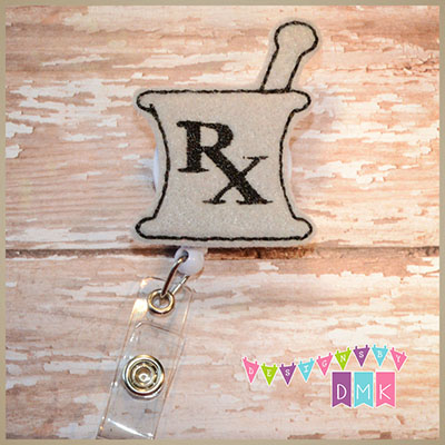 RX Mortar & Pestle - Grey with Black Felt Badge Reel