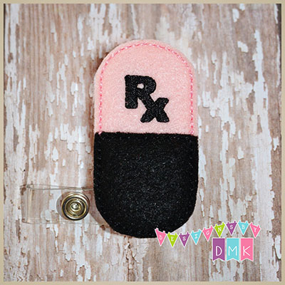 Rx Pill Capsule Pink & Black Felt Badge Reel