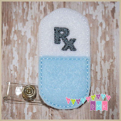 Rx Pill White & Light Blue Capsule Felt Badge Reel