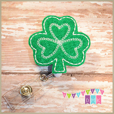 Shamrock - Green with White Felt Badge Reel