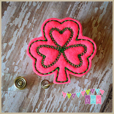 Shamrock - Hot Pink with Green Felt Badge Reel
