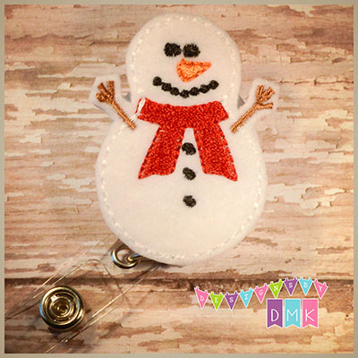 Snowman Red Scarf Felt Badge Reel