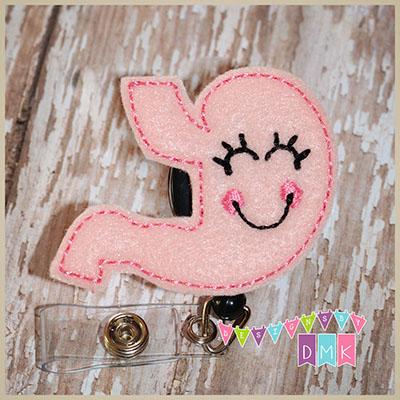 Stephany the Stomach Felt Badge Reel