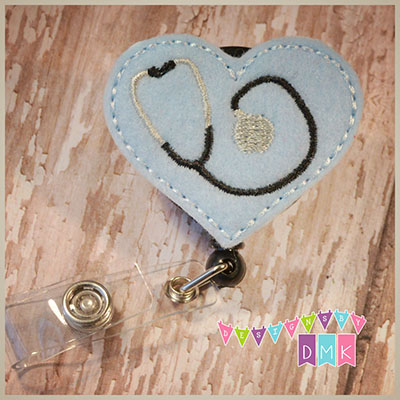 Stethoscope Heart on Light Blue Felt Badge Reel