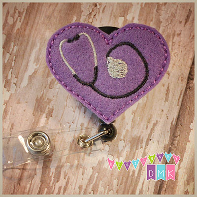 Stethoscope Heart on Light Purple Felt Badge Reel
