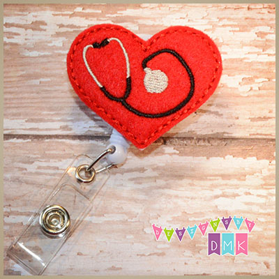 Stethoscope Heart on Red Felt Badge Reel