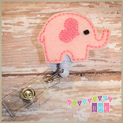 Valentine Elephant Pink Felt Badge Reel