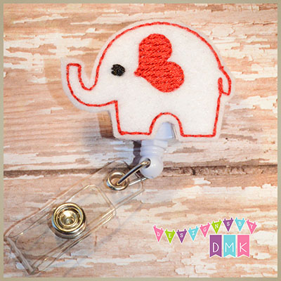 Valentine Elephant White Felt Badge Reel