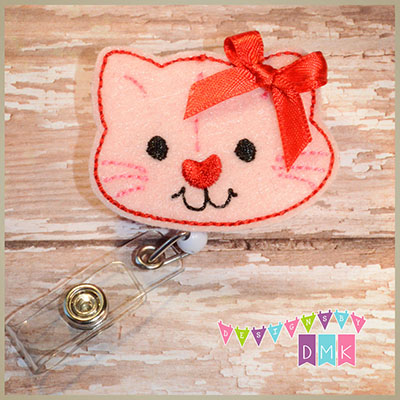 Valentine Kitty Cat Felt Badge Reel