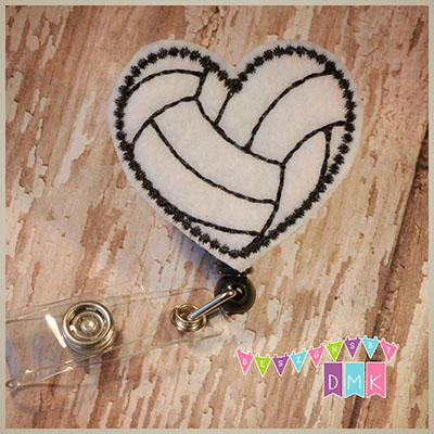 Volleyball Heart Felt Badge Reel