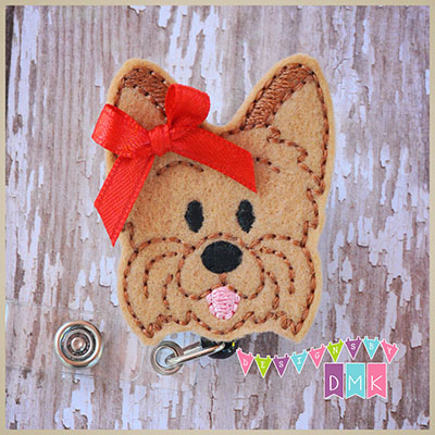 Yorkshire Terrier Felt Badge Reel