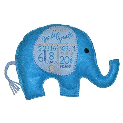 Elephant Birth Announcement Stars FELT Version Embroidery File
