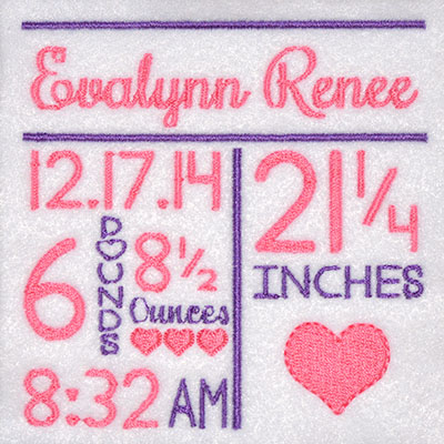 TEMPLATE Birth Announcement Hearts Embroidery File