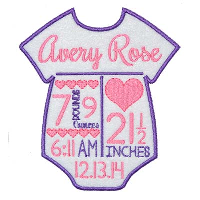 CUSTOM Birth Announcement Onesie Hearts Embroidery File