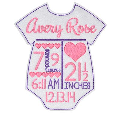 TEMPLATE Birth Announcement Hearts Onesie Embroidery File