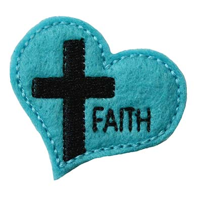 Cross on Heart FAITH Embroidery File