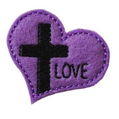 Cross on Heart LOVE Embroidery File