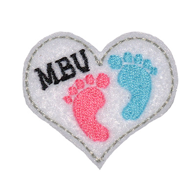 MBU Baby Feet Heart Embroidery File