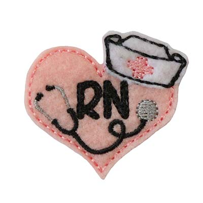 Nurse Stethoscope Heart RN Embroidery File