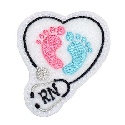 RN Stethoscope Heart Baby Feet Embroidery File